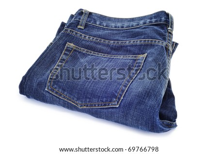 a pair of blue jeans on a white background