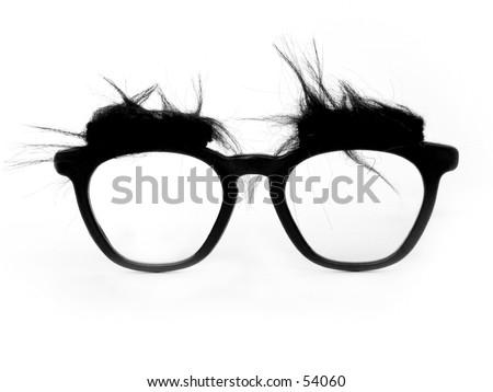 A pair of bushy-eyed, thick-rimmed joke glasses.