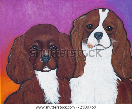 A pair of Cavalier King Charles Spaniel - one is a Ruby and the other a Blenheim