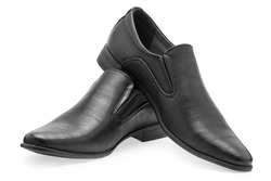 A pair of classical black leather shoes for men, without shoelaces on a white background