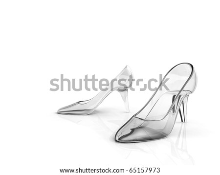 A pair of crystal high-heel shoes against white background.