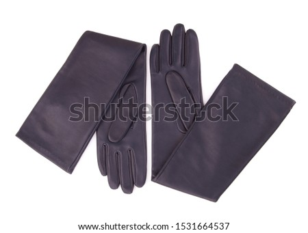 A pair of fashionable women's leather gloves. Gloves on a white background. Blue long leather gloves.