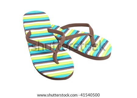 A pair of flipflops or beach sandals isolated on white background