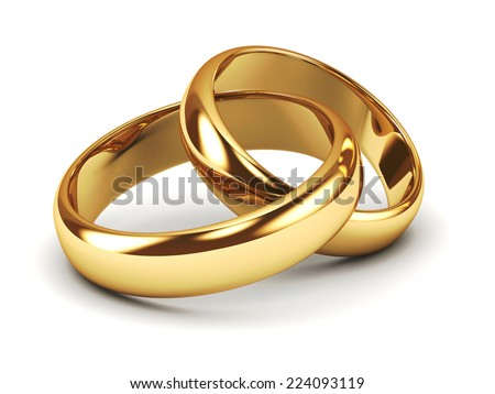 A pair of gold wedding rings Stock photo ©