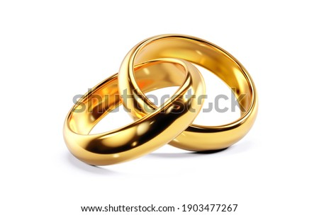 A pair of golden wedding rings. 3D render isolated on white background Photo stock ©
