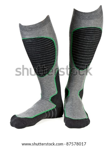 a pair of gray socks ski isolated on a white background