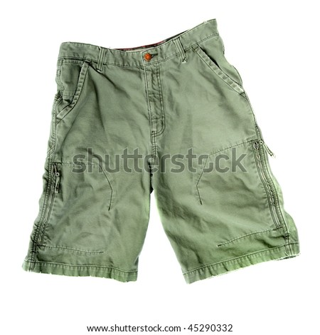 A pair of green camping / camouflage / outdoor / summer shorts isolated on white background