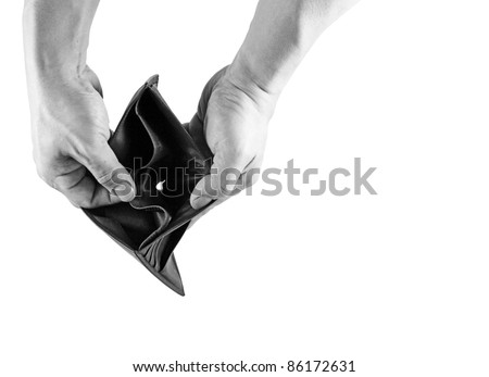 A pair of hand opening an empty leather wallet in monochrome, for the concept of going broke.