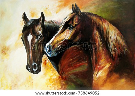 A pair of horses. Oil painting