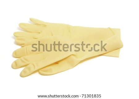 a pair of household rubber gloves isolated on a white background