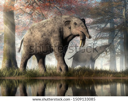 """A pair of huge creatures forage in a primeval forest.  The hoe tusker, or deinotherium (""""terrible beast""""), was a prehistoric relative of elephants with strange downward-curving tusks. 3D Rendering"""