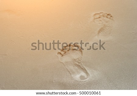9b83b757e a pair of human footprints on the sand. Summertime period. Seaside photo.  Background