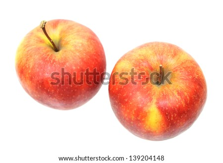 a pair of Jonagold apples isolated on white background #139204148
