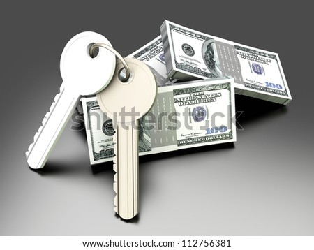 A pair of keys with Dollar notes. Symbol for Real estate investments. 3D rendered illustration.