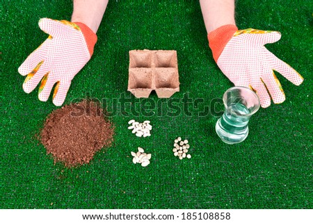 A pair of male caucasian hands shows how to plant seeds in small pots with soil, seeds and water against a grass background.