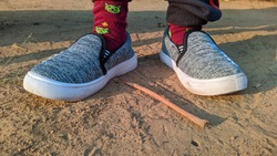 A pair of new woollen child shoe. Winter season shoes collection  in India.