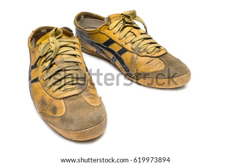 de8ed4d046ae0b a pair of old grunge and dirty sneaker on isolated white background   619973894