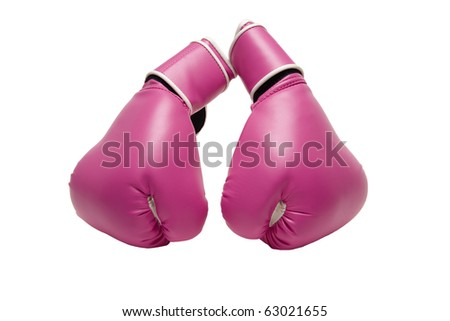 a pair of pink boxing gloves isolated on white