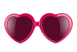 A pair of pink heart shaped sun glasses with violet lenses isolated on white background