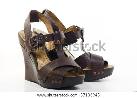 A pair of platform wedges