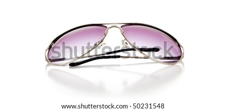 A pair of purple tinted sun glasses on a white background