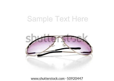 A pair of purple tinted sun glasses on a white background with copy space