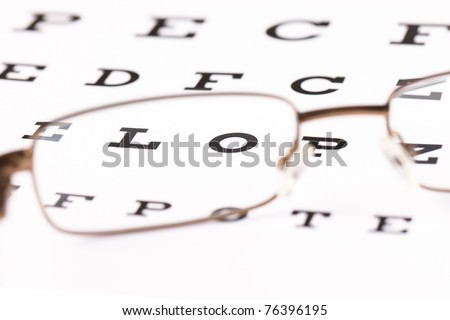 a pair of reading glasses sitting on a eye test chart with only two letters in focus