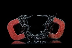 A pair of red alnico horseshoe magnets with black tacks showing magnetism on black background