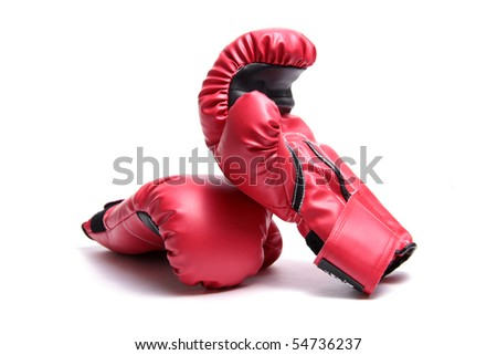 A pair of red boxing gloves on a white background.