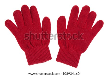 A pair of red gloves isolated on white background
