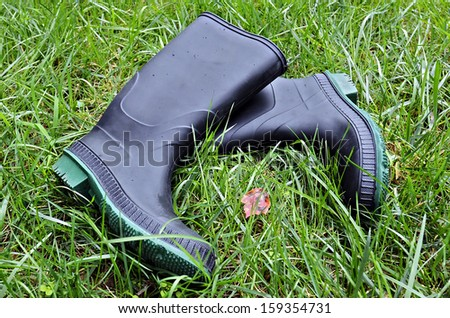 A pair of rubber boots in the grass with small rain drops on them.
