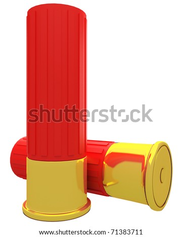 a pair of shotgun shells isolated over white background