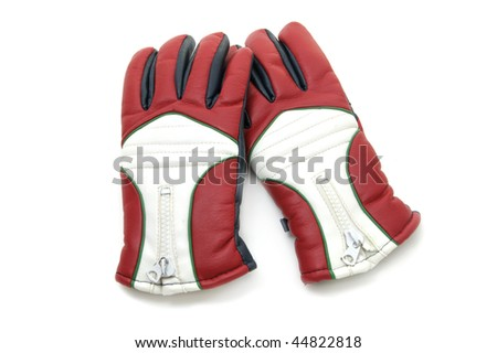 a pair of snow-motorbike gloves isolated on a white background