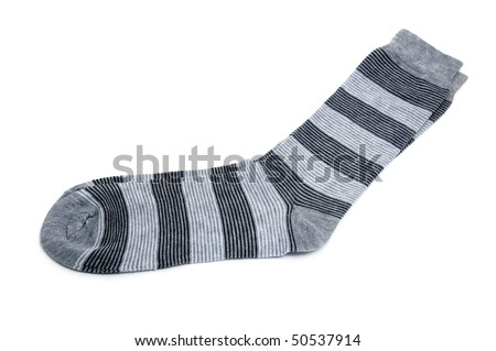 a pair of striped socks isolated on a white background