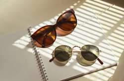 A pair of sunglasses lies on an open notebook in the rays of sunlight