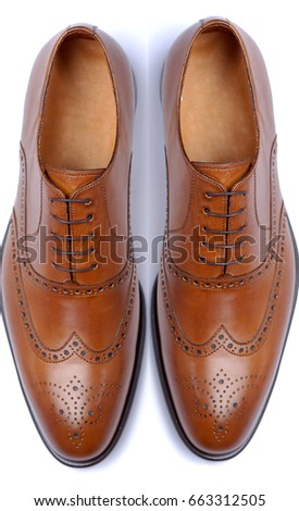 a pair of tobacco color classical man shoes isolated on white, laced, classical #663312505