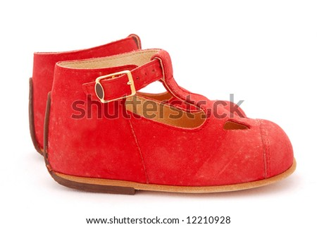 A Pair Of Two Little Dirty Red Italian Leather Shoes For Kids ...