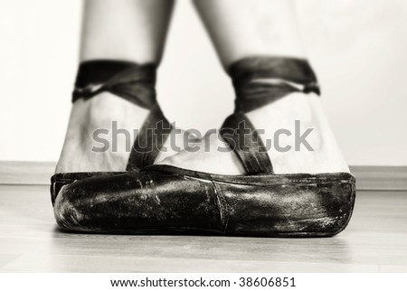 Black And White Ballet Photography. stock photo : A pair of well