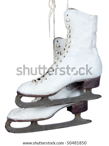 A pair of white ice skates on a white background with copy space
