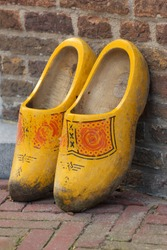 a pair wooden shoes