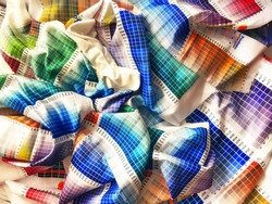A palette of multi-colored pantons of sublimation textile. The palettes of colored fabrics are cotton, silk, satin. Printing on different basics