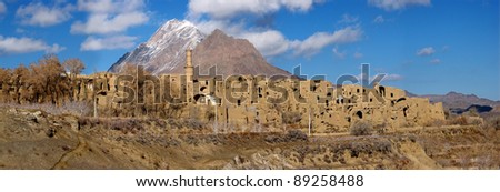 A panaramic view of small village in Yazd