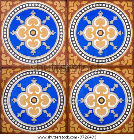 A panel of four victorian arts crafts floor tiles dating for Arts and crafts floor tile