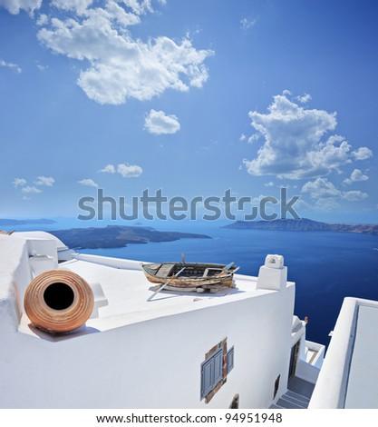 A panorama from Santorini island, Greece