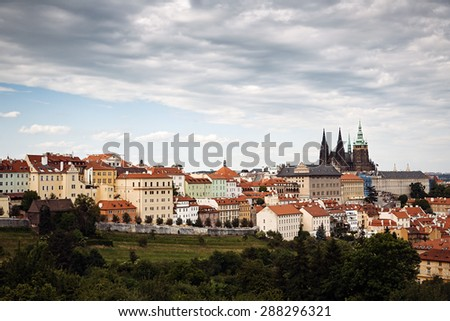 A panorama hill-side view of the Prague