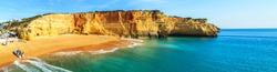A panorama of Benagil beach in Algarve region, Portugal, Europe