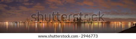 A panorama of downtown San Diego in early dawn