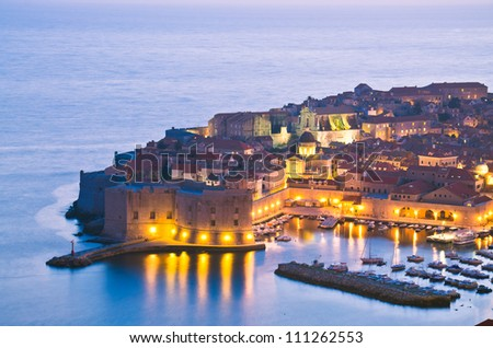 A panorama of Dubrovnik by night, Croatia