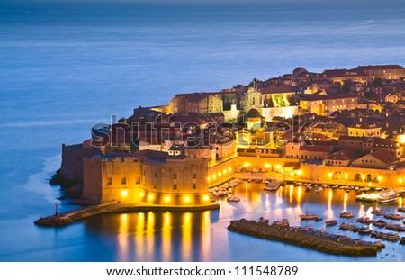 A panorama of Dubrovnik by night, Croatia