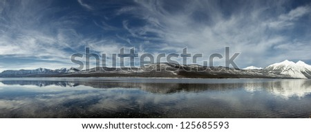 A panorama of Lake McDonald in Glacier National Park Montana
